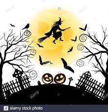 Happy Halloween Greeting Card Elegant Design With Bats Owl Grave Cemetery Fence Moon Tree And Witch Over Grunge Dark Blue Starry Sky Background Stock Vector Image Art Alamy