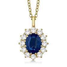 oval blue sapphire diamond pendant