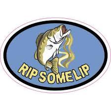 3in X 2in Oval Rip Some Lip Fishing Sticker Vinyl Sports Fish Car Decal Walmart Com Walmart Com