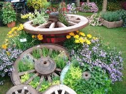 wagon wheel herb garden design ideas