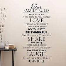Amazon Com Ditooms Family Quotes Wall Decal Our Family House Rules Home Love Do Your Best Wall Art Vinyl Decal For Room Decor Kitchen Dining