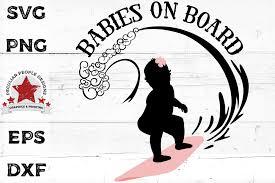 Babies On Board Svg Surfing Girl Twins Car Decal Cut File 756627 Cut Files Design Bundles