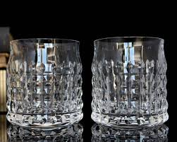 2x cut crystal whiskey glasses old