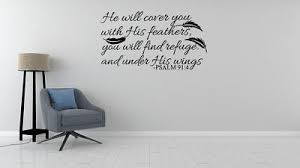 Psalm 91 4 Bible Verse Vinyl Wall Stickers Decals Scripture Quote Art Word Decor 700621397946 Ebay