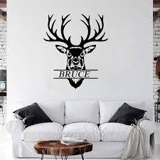 Cartoon Custom Name Deer Hear Hunting Wall Sticker Boy Room Living Room Personalized Name Antlers Deer Skull Wall Decal Vinyl Wall Stickers Aliexpress