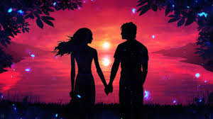 romantic couple sunset silhouette