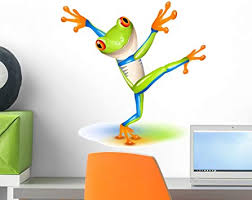 Amazon Com Wallmonkeys Dancing Tree Frog Wall Decal Peel And Stick Graphic 18 In H X 18 In W Wm310394 Furniture Decor
