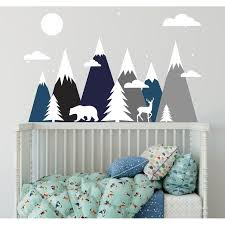 Shop Blue And Grey Mountains Wall Decal Overstock 31580423