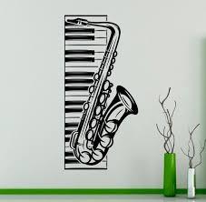 Piano Keys And Saxophone Wall Vinyl Decal Musical Instruments Etsy