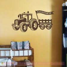 Farmer Decals Tractor Wagon With Name Flag Boys Room Wall Stickers Bedroom Decor Ebay