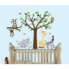 Safari Jungle Murals For Kids Rooms With Elephant Wall Clings For Baby Rooms