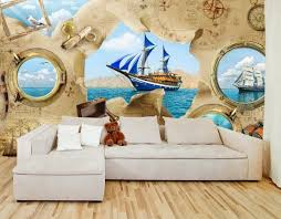 Pirate Ship Kids Room Wallpaper Kids Room Sticker Wall Nursery Etsy