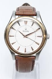 bulova men s 98a119 dress leather strap