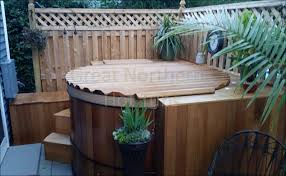 Cedar Hot Tub With Easy Entry Deck Creates A Private Oasis