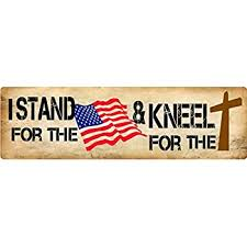 Amazon Com We Stand For The Flag And Kneel For The Cross Die Cut Vinyl Window Decal Sticker For Car Or Truck Laptop Everything Else