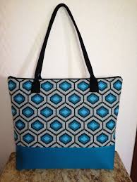 canvas cotton with blue graphics and