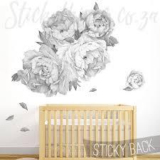 Giant Peony Wall Sticker Peony Flowers Wall Decal Stickythings Co Za Flower Wall Decals Flower Wall Nursery Wall Stickers