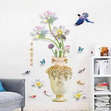 Peaceful Rich Vase Wall Decal Living Room Tv Background Corridor Porch Decorative Self Adhesive Wall Stickers Home Decor Aliexpress
