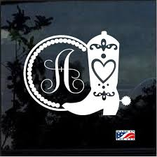 Really Cool Cowgirl Western Boot Monogram Initial Window Decal Sticker Check It Out Here Https Cust Monogram Vinyl Decal Initials Sticker Monogram Initials