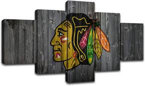Amazon Com Canvas Prints Chicago Blackhawks Wall Art Pictures Ice Hockey Sports Wall Decor Painting Decoration Posters Framed Ready To Hang 60 Wx32 H Everything Else
