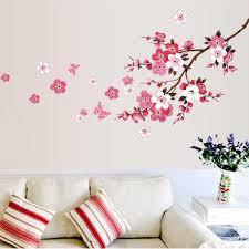 Pink Cherry Blossom Wall Mural Removable Pvc Wall Decals Cherry Tree B Nordicwallart Com