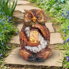 exhart owl with led firefly jar statue