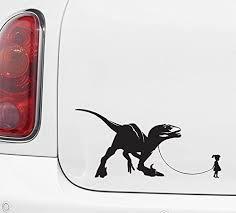 Amazon Com Pet Dinosaur Velociraptor W Girl Car Truck Atv Vinyl Decal Sticker Yydc 7 W X 3 5 H Girl Face Right Black Arts Crafts Sewing