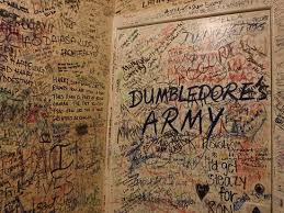 the bathroom where everyone writes harry potter quotes and such