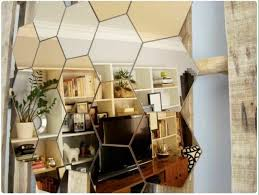 chrome brass hexagonal mirror tiles