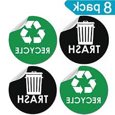 8 Pack Recycle Sticker Sign Trash Decal B