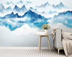 Kids Wallpaper Peel And Stick Self Adhesive Gray Mountain Wall Etsy In 2020 Mural Wall Wallpaper Wall Murals
