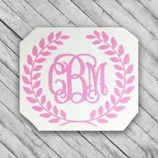 Laurel Wreath Monogram Decal For Camelbak Yeti Water Bottle Swell Sticker Computer Laurel Wreathe Monogram Decal Laurel Wreath Monogram Monogram Wreath