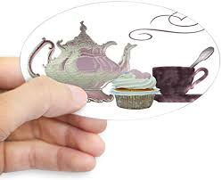 Amazon Com Cafepress Pink Teapot Teacup And Cupcake Oval Bumper Sticker Euro Oval Car Decal Home Kitchen