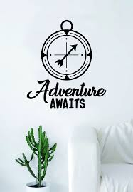 Adventure Awaits Compass Quote Wall Decal Sticker Bedroom Living Room Boop Decals