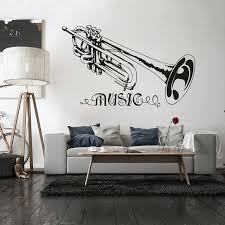 Trumpet Music Wall Sticker Removable Music Style Wall Decal Concert Decoration Design Poster Vinyl Trumpt Art Mural Decor W122 Wall Stickers Aliexpress