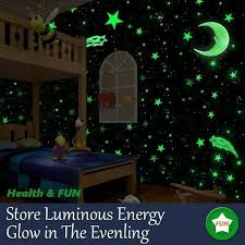 100pcs Wall Stickers Glow In The Dark Baby Kids Bedroom Home Decor Color Stars For Sale Online