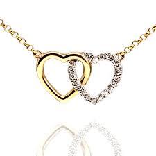 9ct yellow gold interlocking heart