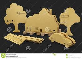 A House Fence Car And Tree In Brown Cardboard Isolated White 3d Illustration Stock Illustration Illustration Of Present Brown 101823668