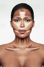 contour and highlight makeup on female