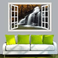 3d Window Wall Sticker Decal Landscape Wallpaper Waterfall Nature Window View Home Decoration 24 X36 Wish