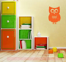 1 Large Owl With Chevrons Girls Room Vinyl Wall Art Decals Stickers