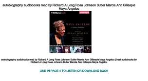 autobiography audiobooks read by Richard A Long Rosa Johnson Butler M…