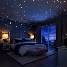 Amazon Com Glow In The Dark Stars Wall Stickers 252 Adhesive Dots And Moon For Starry Sky Perfect For Kid Space Themed Bedroom Dream Rooms Home Decor Bedroom