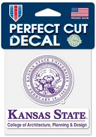 K State Wildcats College Of Agriculture Planning Design 4x4 Inch Perfect Cut Auto Decal White 5717084