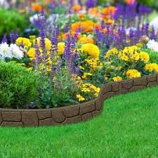stones 4 ft earth rubber garden edging