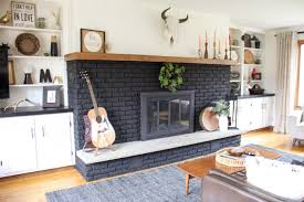 our black painted fireplace bright