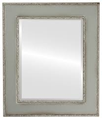framed rectangle mirror in silver shade