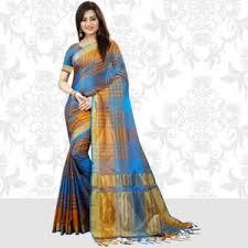 zoya clothing satin blue saree
