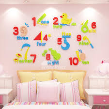 Wall Decor Stickers For Kids Art For Bedrooms 3d Vinyl Home Decor Nursery School Classroom Acrylic Number Shape Colorful Self Adhesive