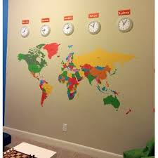 Pop Decors Educational World Map For Kids Room Wall Decal Popd1002